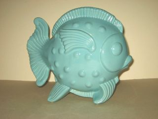 Vintage Ceramic Goldfish Vase Aqua Blue Fish Vase Planter photo