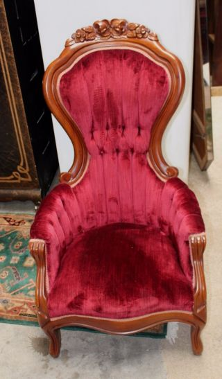 Antique Victorian Mahogany Gentlemens Parlor Style Upholstered Arm Chair photo