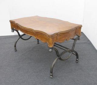 Gorgeous Writing Desk By Schnadig W Ornate Metal Scrolled Base Burl Wood Onlay photo