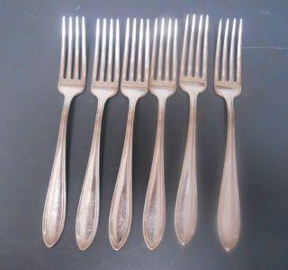 Oneida Community Par (silver) Plate Monroe Or Mohawk 6 Dinner Forks 7.  5