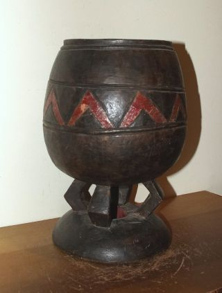 Old Dogon People Painted Urn / Pot From Mali photo