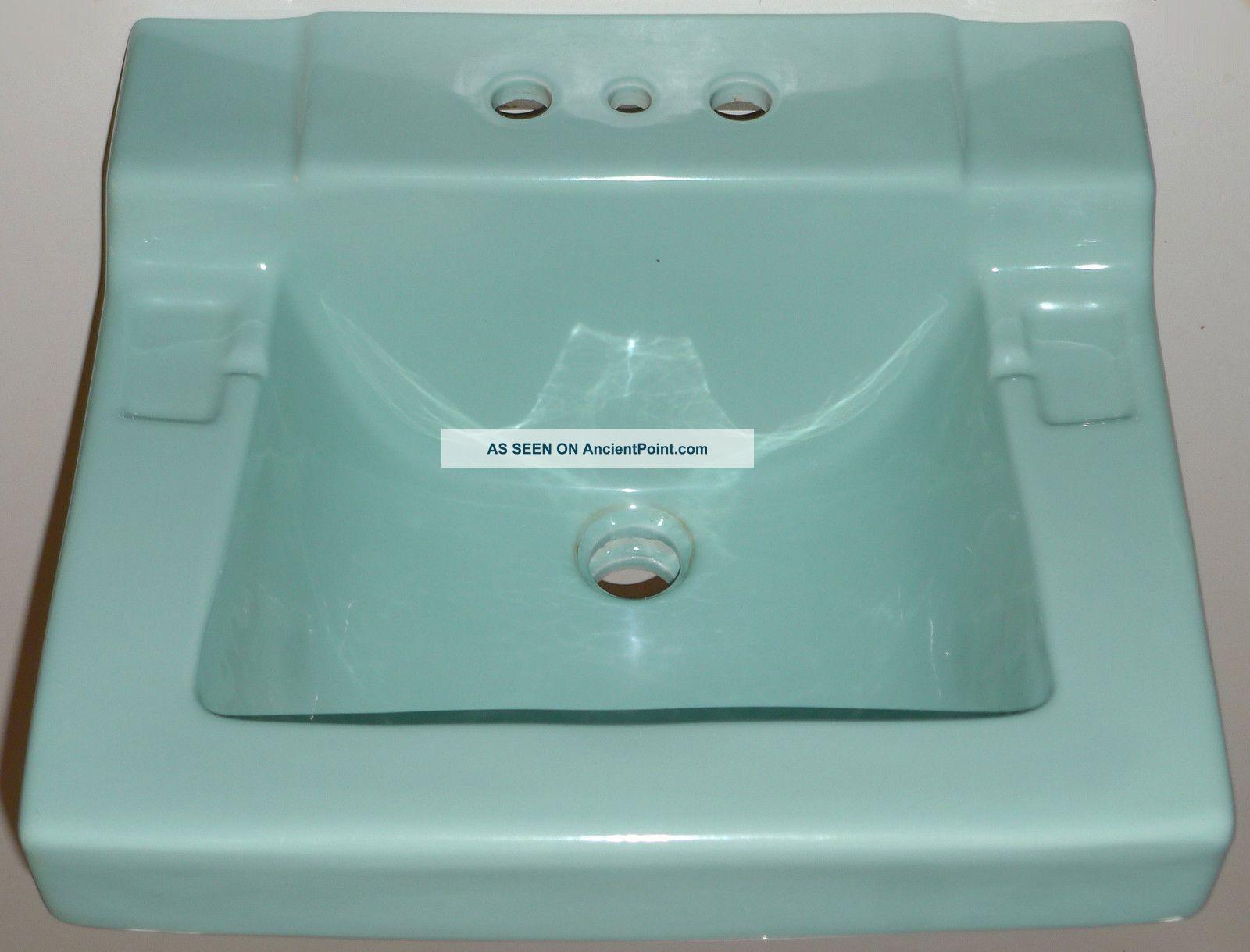 Mid Century Bathroom Sink Turquoise Blue Rheem