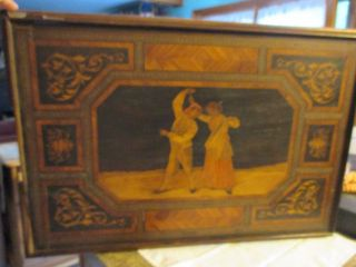 Vintage Marquetry Inlaid Wood Tray Doubled Sided Checkerboard 29
