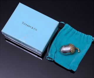 Top Quality Tiffany & Co.  Sterling Silver Gold Gilt Acorn Thimble Case Pill Box photo