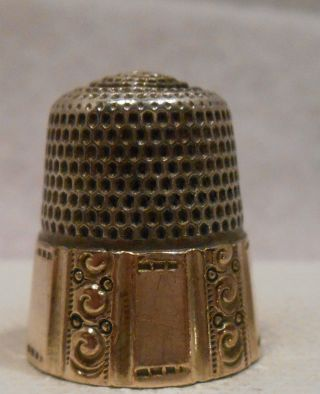 Antique 14k Gold & Sterling Silver Thimble By Goldsmith Stern Co.  Circa 1900s photo