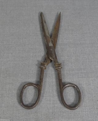 19th.  C Antique Forged Steel Sewing Tailor Scissors Shears Ornate Handles Marked photo