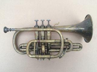 Fine Antique French Brass Cornet Couesnon & Co.  Paris In Leather Case photo