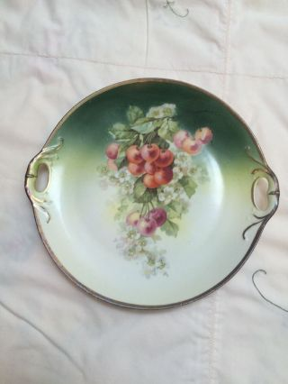 Antique Hand Painted Cherries Cake Plate 10
