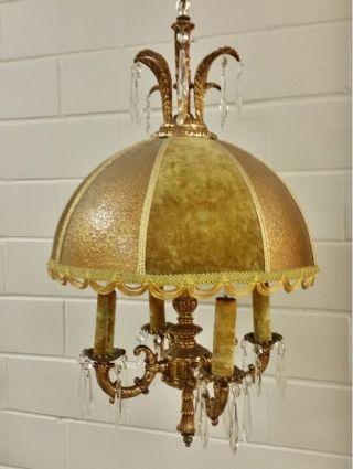 Vintage Hollywood Regency Boho Felt Velvet Swag Lamp Light Chandelier,  Prisms photo
