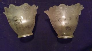 Fantastic Pair Victorian Early Electric Shades W/raised Relief Lions Head 1890 ' S photo
