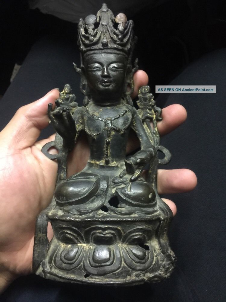 Antique Chinese Gold Gilt Bronze Ming Buddha Museum 192 Tibetan Asian China Buddha photo