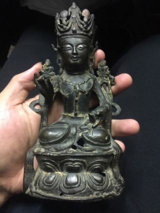 Antique Chinese Gold Gilt Bronze Ming Buddha Museum 192 Tibetan Asian China photo