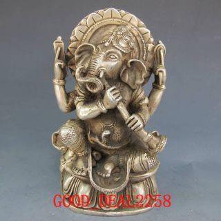 Tibet Silver Bronze Tibetan Buddhism Elephants Head Wealth Buddha W Horn Statue photo