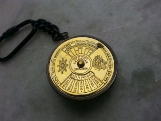 Solid Brass Coin Antique Vintage Calender Ship Anchor Nautical Keychain photo