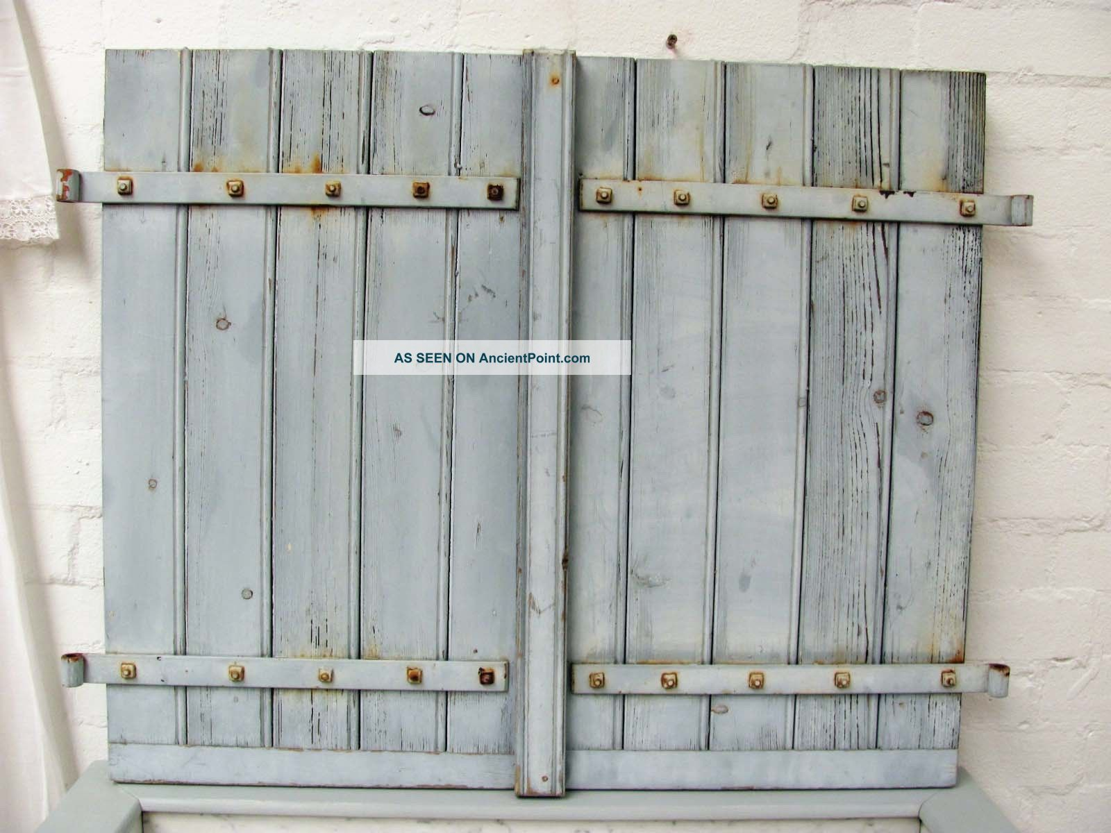 Charming Vintage French Painted Oak Shutters - Chalky Paint Windows/ Sashes/ Locks photo