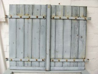 Charming Vintage French Painted Oak Shutters - Chalky Paint photo