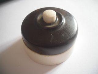 Vintage Brown Bakelite & Ceramic Landor Bell Button Good Switch Patent photo