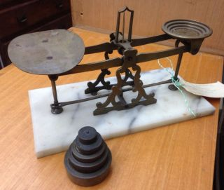 Rare 1800s William Mitchell ' S Apothecary Scales Weights Antique Vintage Medical photo