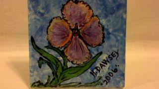 Handpainted Ceramic Porcelain Decorative Tile Artist H.  Dawsey Pink Flower 2006 photo