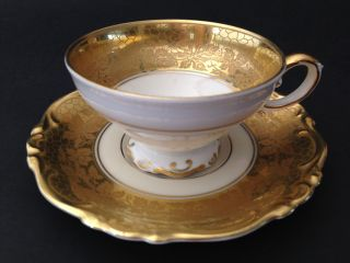 1939 Selb Bavaria Germany Heinrich Demitasse Cup And Saucer Gold Encrusted Band photo