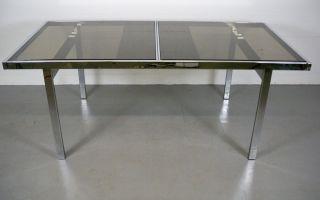 Mid Century Chrome Milo Baughman Expandable Dining Table photo