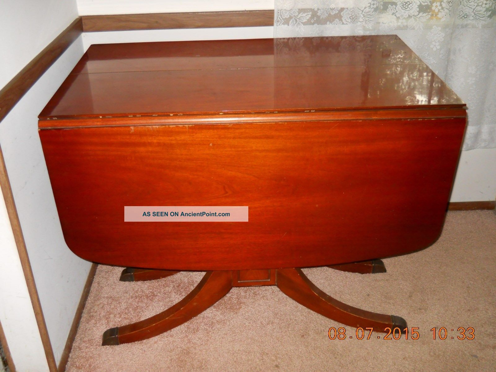 Duncan Phyfe Round Table With Drawer.Tell City Vtg Duncan Phyfe Style Mahogany Drop Leaf Dining Table