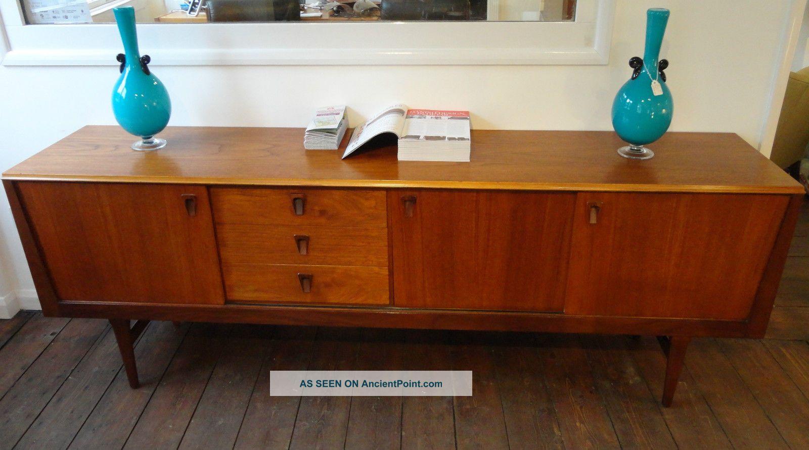 Vintage Low Teak Sideboard W Sliding Doors 3 Drawers Danish