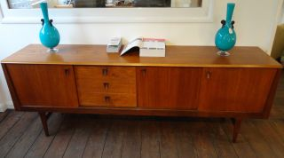 Vintage Low Teak Sideboard W/ Sliding Doors & 3 Drawers - Danish 1960 ' S - 221cm photo