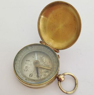 Antique Victorian Cased - Brass Pocket Watch Fob Locking Compass - Beveled Glass photo