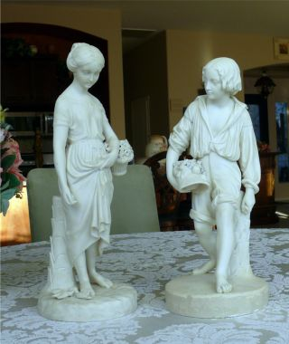 Pair Lg Victorian Copeland White Bisque Figurines Young Boy & Woman photo