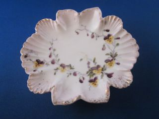 Vintage Hand Painted Porcelain Dish Gold Edge Pansy Pattern 4 1/2