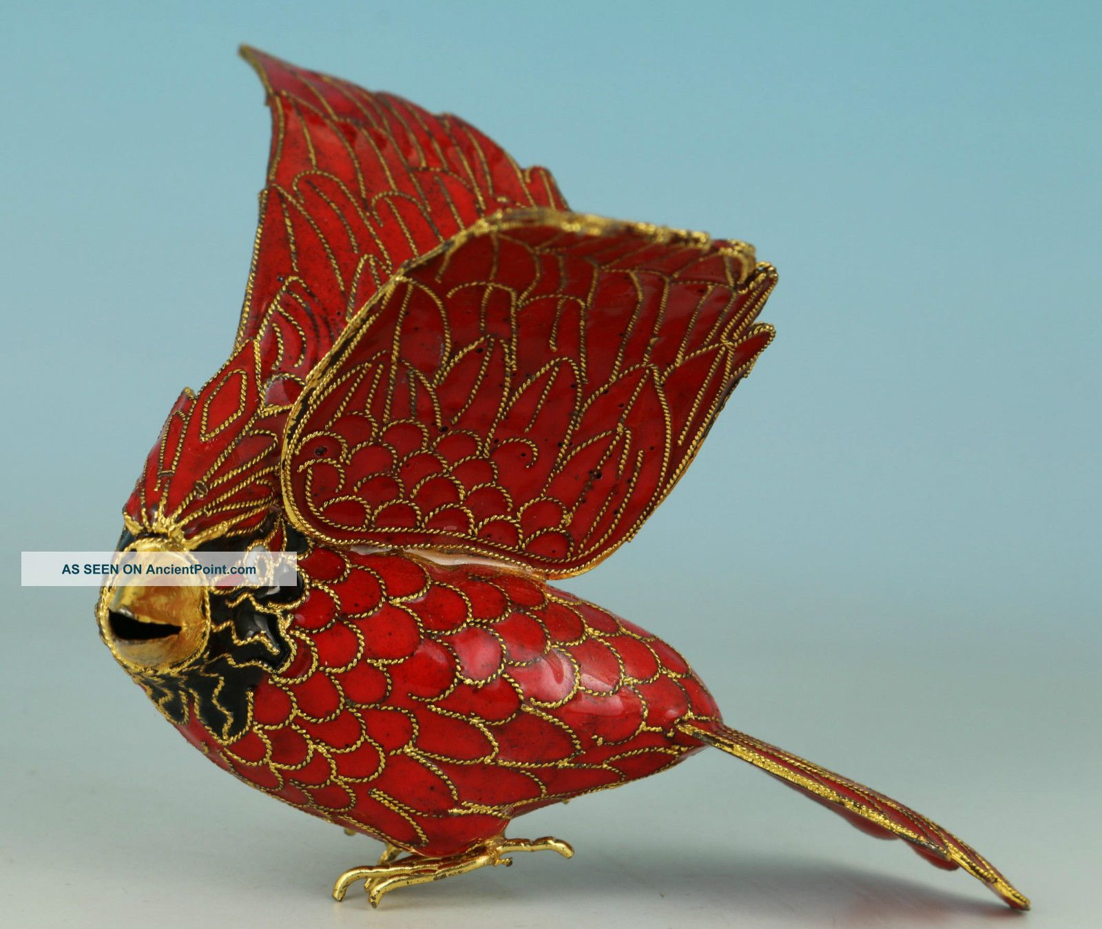 Asian Chinese Old Red Cloisonne Hand Painting Bird Statue Pendant Netsuke Statues photo