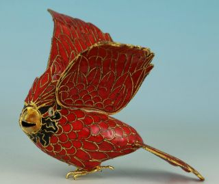 Asian Chinese Old Red Cloisonne Hand Painting Bird Statue Pendant Netsuke photo