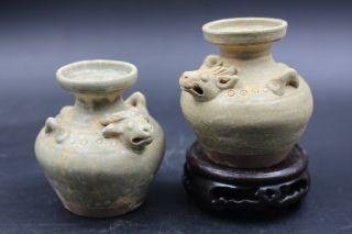 China Yue Kiln Old Porcelain Single Glaze - - Cattle Head Tank - - A Pair photo