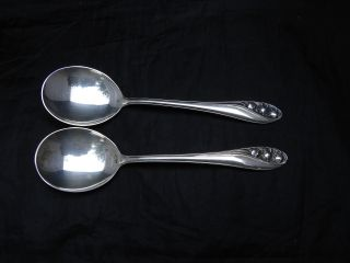 Gorham Lily Of The Valley 2 Cream Soup Spoons photo