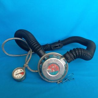 Vintage Scuba Dive Diver Diving Nemrod Two Hose Regulator & Siebe Gorman Gauge photo