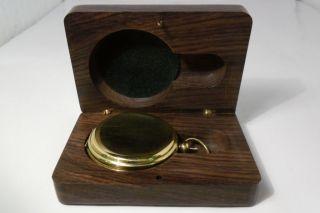 Solid Brass Stanley London World War I Pocket Compass Wooden Box Keepsake Mens photo