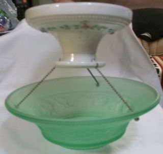 1930 ' S Porcelain Base & Green Satin Glass Shade Ceiling Light Fixture photo