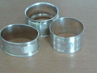 Antique Solid Silver Napkin Rings X 3 Birmingham 1922,  1923,  1925 photo