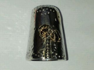Rare & Unusal Silver Gilt Thimble London 1980 12.  8grams photo