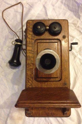 Antique Early 1901 Kellogg Wall Telephone Oak Hand Crank Rare photo