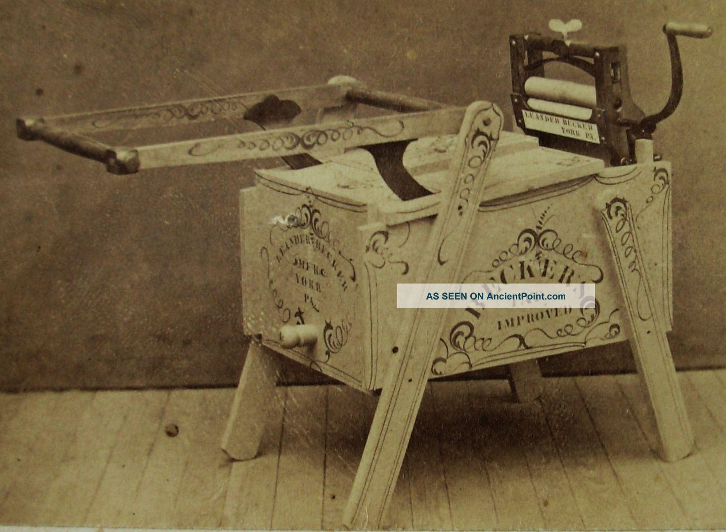 Rare Antique Cdv Photo Of Becker ' S Washing Machine & Wringer Stenciled Wood Washing Machines photo