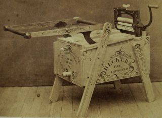 Rare Antique Cdv Photo Of Becker ' S Washing Machine & Wringer Stenciled Wood photo