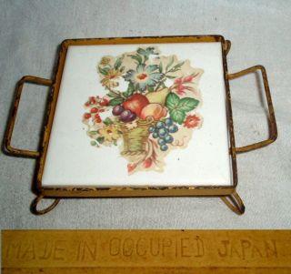 Rare 1948 - 52 Occupied japan Flowered 4x4 ceramic Tile Framed Trivet Euc photo