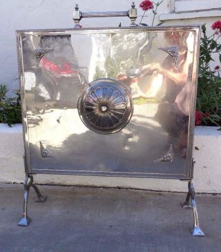 Antique Unique,  Rare Ornate Vintage Silver Metal Arts Fireplace Screen photo