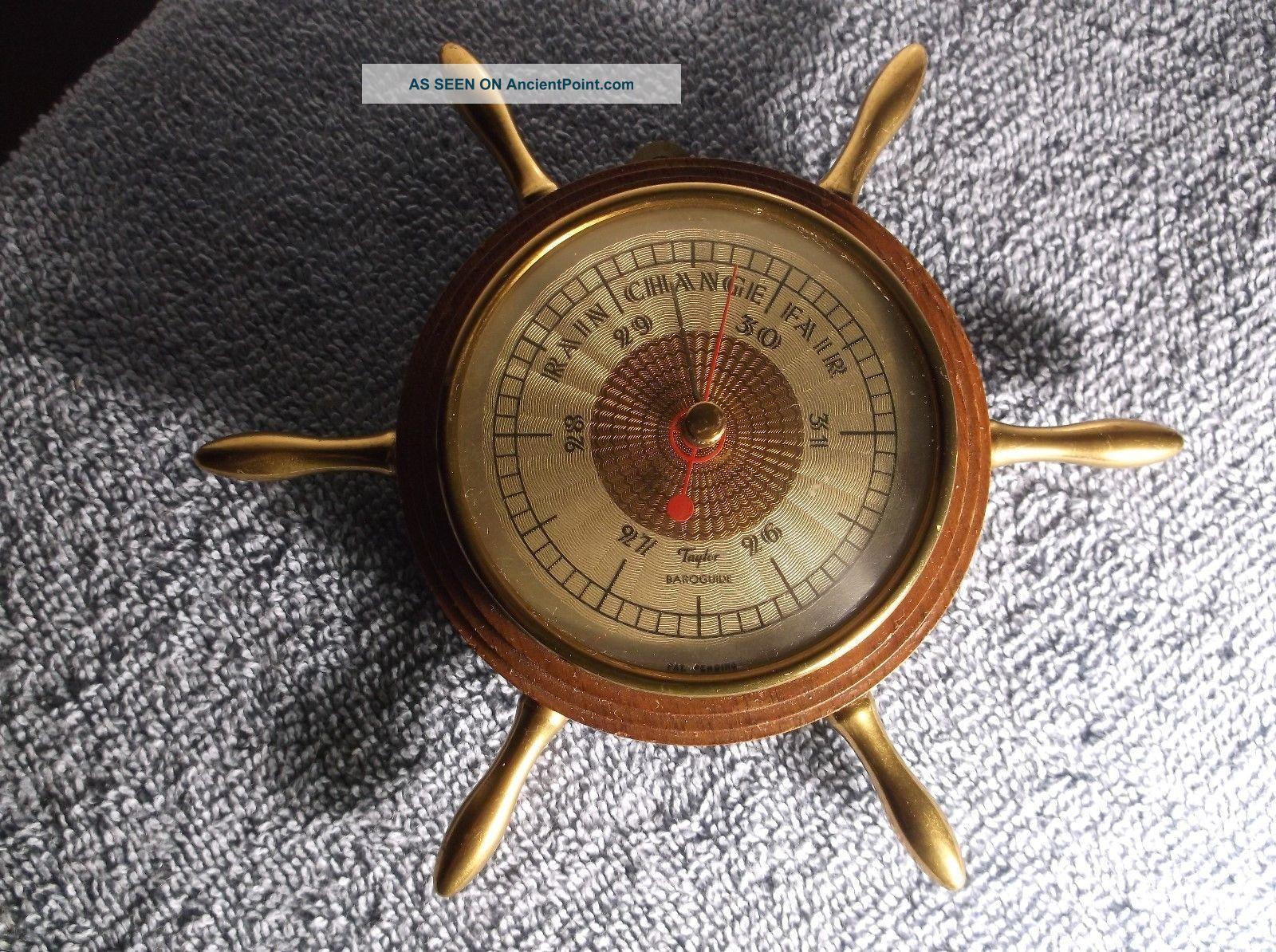 Vintage Very Small Ships Wheel Barometer Taylor Baroguide Wood & Brass Wheels photo