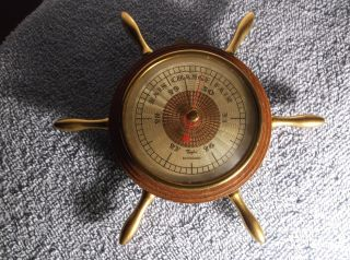 Vintage Very Small Ships Wheel Barometer Taylor Baroguide Wood & Brass photo