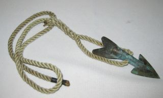 Antique Vintage Bronze Swordfish Tuna Harpoon With Rope Cable photo