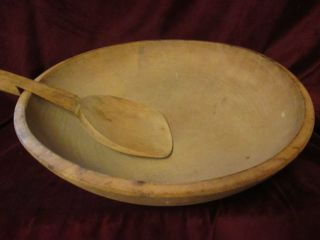 Large Wooden Bowl Primitive Dough Early Old Antique Vintage Raised Lip Turned photo