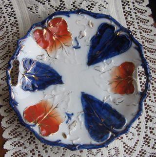 Antique Porcelain Gilt Embossed Branch Rim Acorn Brushstroke Flow Blue ? Plate photo